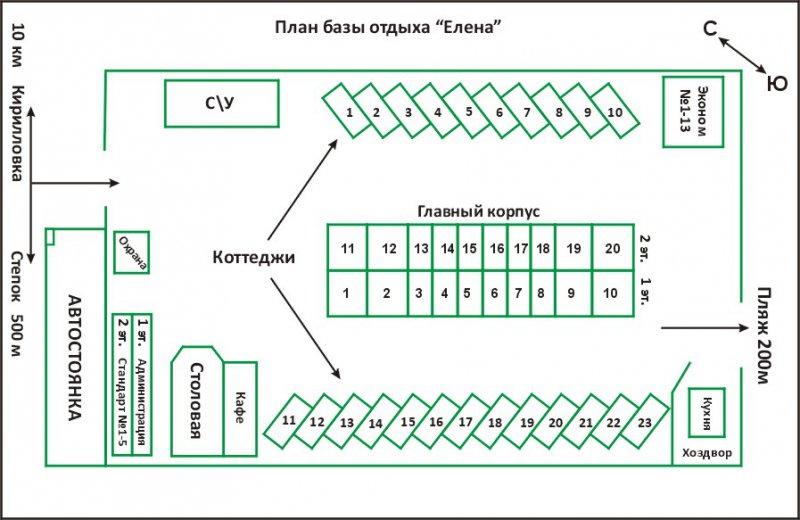Расположения объектов на базе отдыха